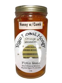 2 lbs. Fotis Bees Orange Blossom Honey with Bee Comb